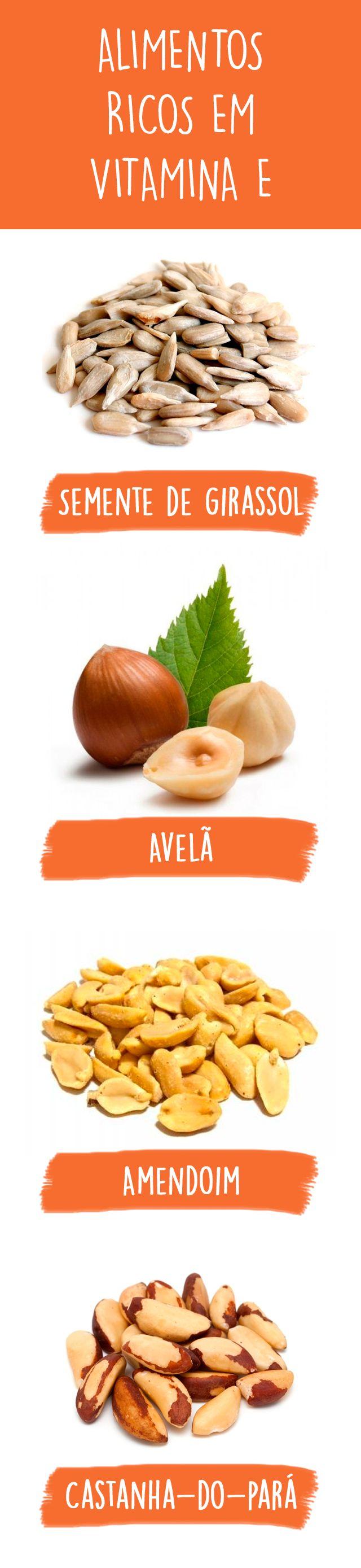 Os alimentos ricos em vitamina E são, na sua maioria, alimentos de origem vegetal, como cereais integrais, óleos vegetais e sementes. Porém, a gema do ovo, o fígado e a gordura que envolve a carne também são ricos nesta vitamina, que é antioxidante, ou seja, que serve para proteger as células do organismo.