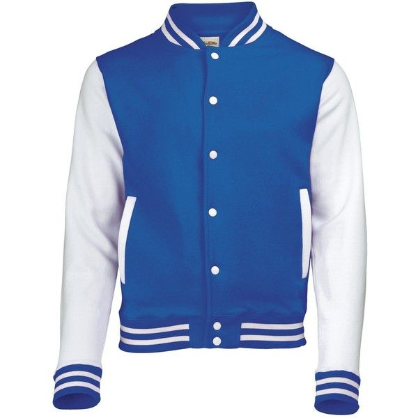 AWDis Hoods Varsity Letterman jacket (€23) ❤ liked on Polyvore featuring outerwear, jackets, college jackets, letterman jackets, hooded jacket, varsity style jacket and blue varsity jacket