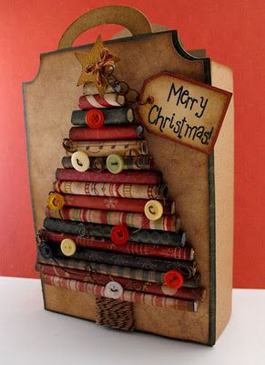 Rolled Craft Paper...Christmas Tree Bag...This would make a great Christmas wall hanging
