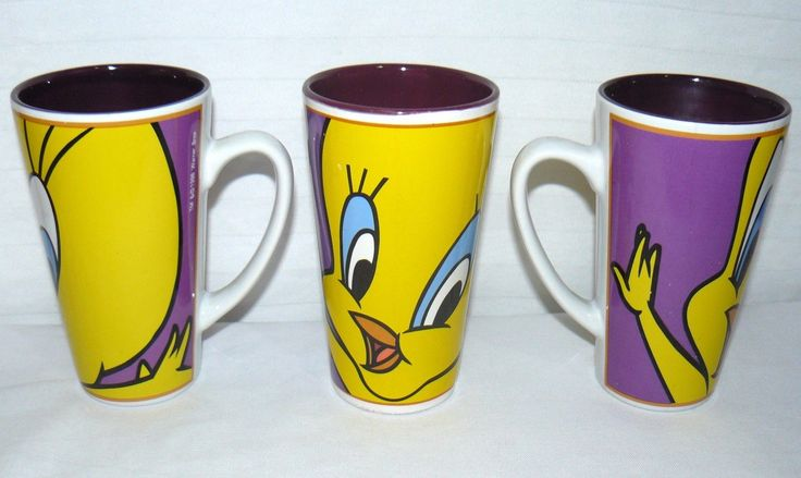 Gibson 1998 Looney Tunes 14 Oz Set Of 3 Tweety Bird Tall Coffee Mugs Vintage