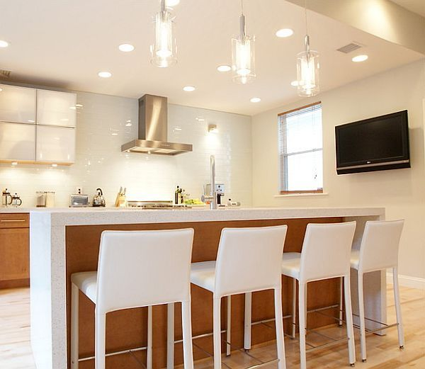 Best Bright Contemporay Kitchen With Beautiful Lighting With 400 x 300