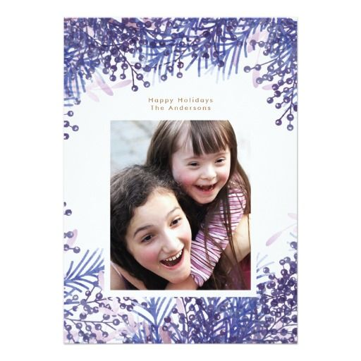 Blue Winter Berries Christmas Holiday Photo Card