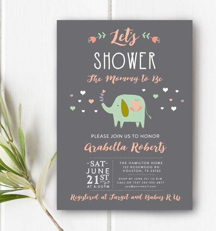 Custom Baby Shower Invitation Gray Pink Aqua Elephant Let's Shower the Mommy Printable