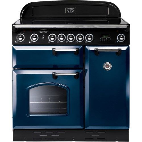 Rangemaster 87660 Classic 90cm Electric Range Cooker With Induction Hob - Blue And Chrome