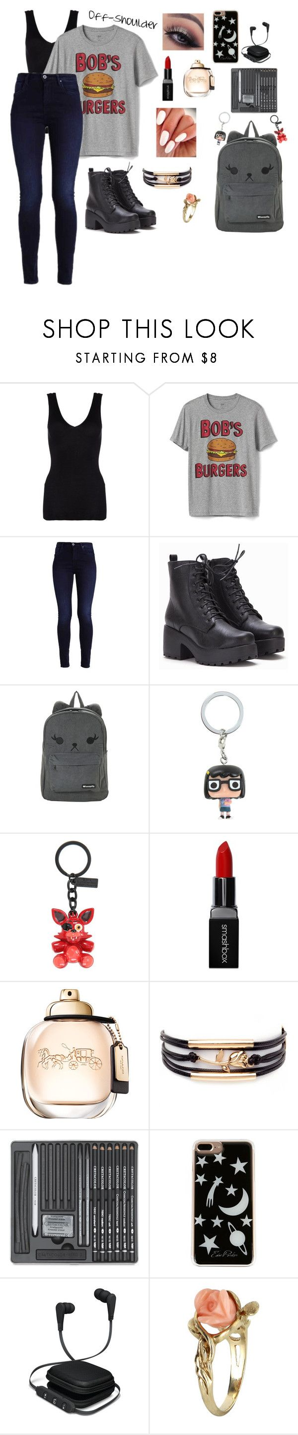 """""""Sophomore Year: Day 1~HSLS"""" by mystic-moonstone ❤ liked on Polyvore featuring Hanro, Gap, Hot Topic, Smashbox, Edie Parker, iWorld and Vintage"""