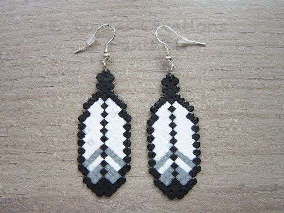 Feather Aztec Mario Earrings jewelry perler por DoucesCreations