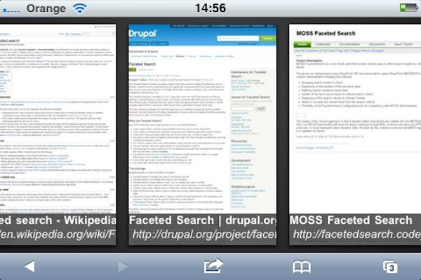 Search results displayed as thumbnails on Google mobile web    But search results don't have to be text at all. If our goal is to re-find a previously known item, it may be quicker for us to view them as a set of thumbnails, flicking through them in sequence. When we know exactly what our target looks like, we can rely on recognition rather than recall to find it.