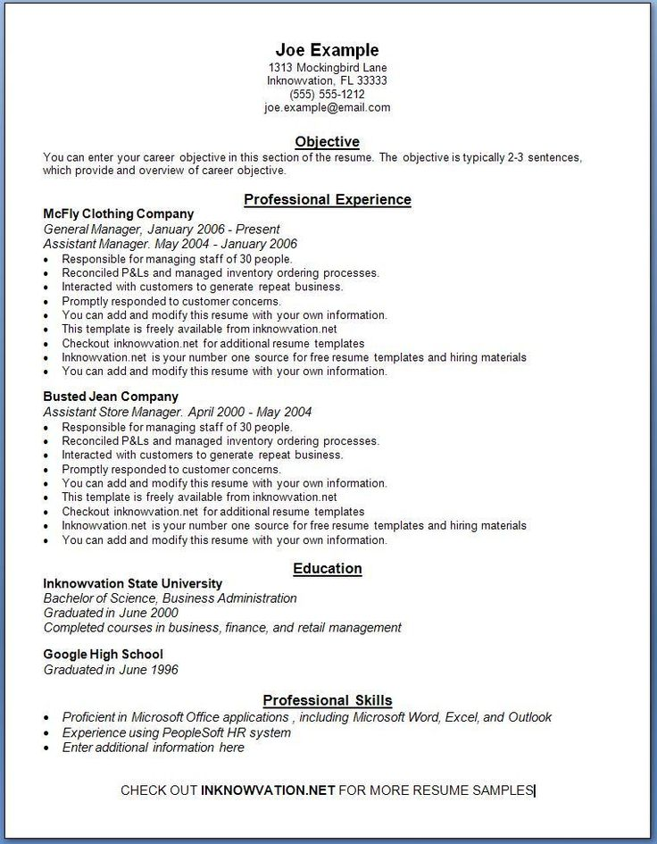 Free Resume Templates Examples  Resume Examples And Free Resume