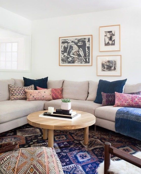 An Amber Interioru0027s Living Room In A California Home With Neutral Taupe  Couch, Eclectic Printed Throw Pillows, Kilim Rugs, And Wooden Accents. Part 74