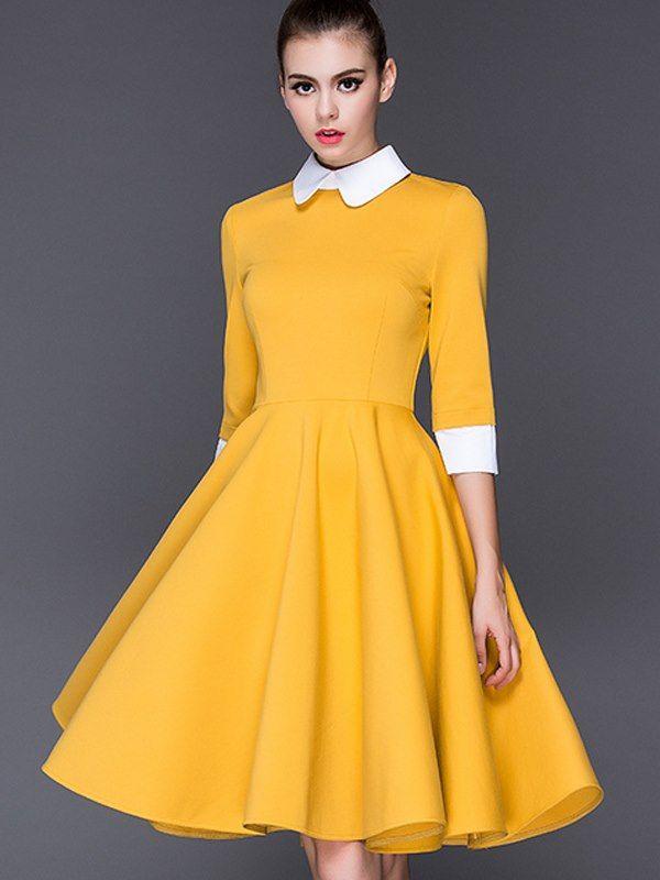 Doresuwe.com SUPPLIES 新作大人気 長袖ワンピース衿つき切り替え大裾ワンピース  デートワンピース