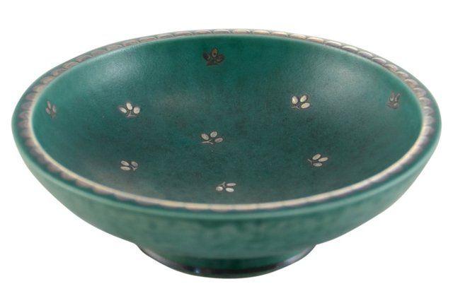 1940s Gustavsberg Teal Bowl