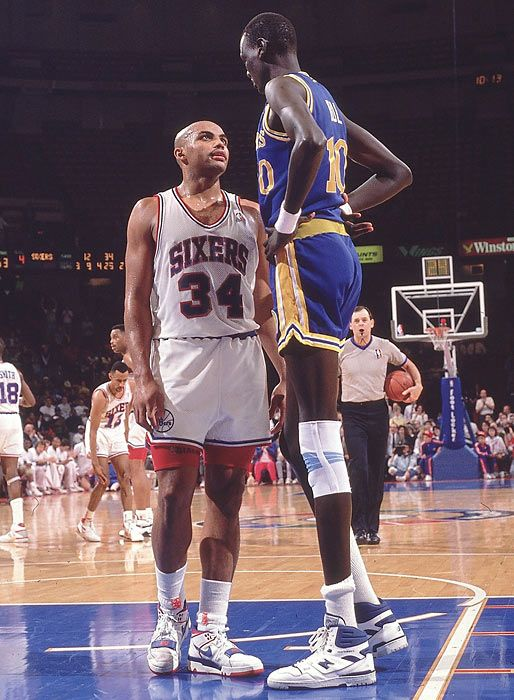 Charles Barkley and Manute Bol (not sure if this photo was taken before or after Manute came to the Sixers)