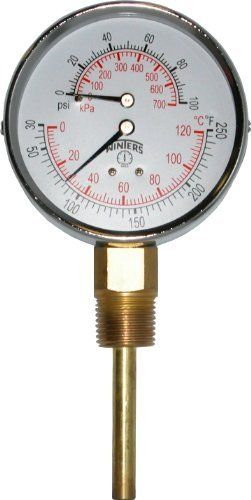 "Winters TTD Series Steel Dual Scale Tridicator Thermometer with 2"" Stem, 0-100psi/kpa, 3"" Dial Display, ±3-2-3% Accuracy, 1/2"" NPT Bottom Mount, 30 Degrees F to 250 Degrees F by Winters. $30.04. Measures both pressure and temperature on the same dial. Dual scale. Bottom connection. Brass wetted parts. 2"" Stems. Multiple pressure and temperature ranges available. Ranges are compliant to industry standard ASME boiler code section IV HG-612. 1 Year warranty. Hot ..."
