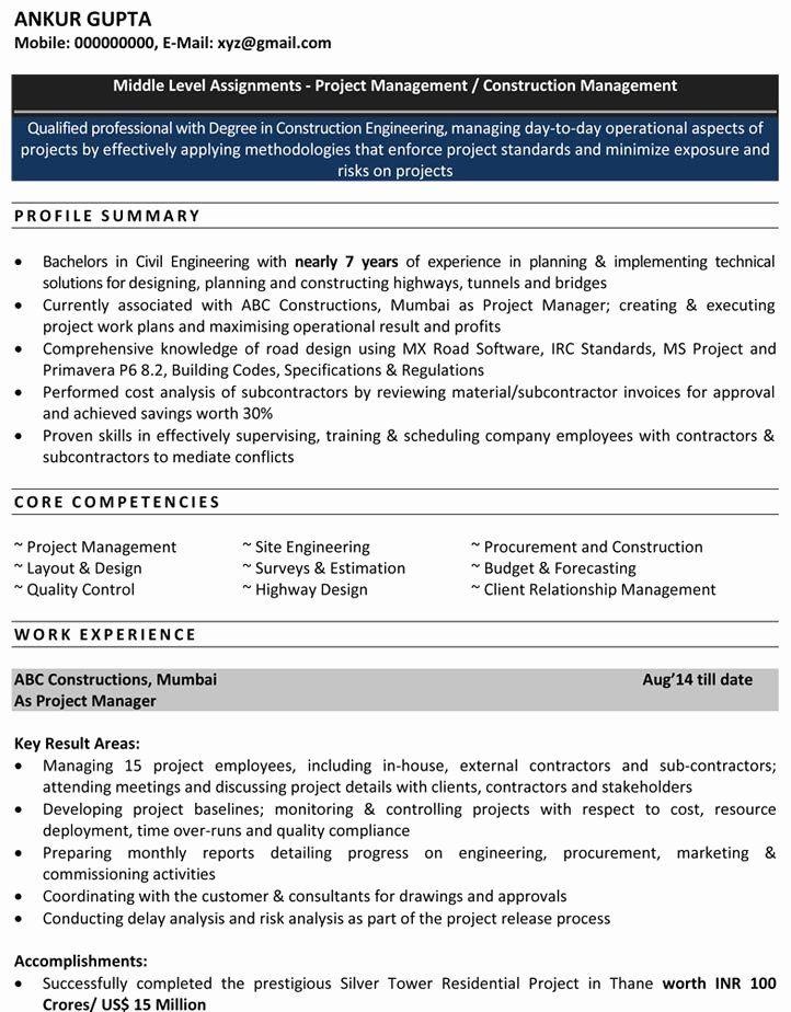 Civil Engineering Resume Examples Beautiful Civil Engineering Resume For Freshers Download Cv Format Pdf In 2020 Engineering Resume Sample Resume Civil Engineer Resume
