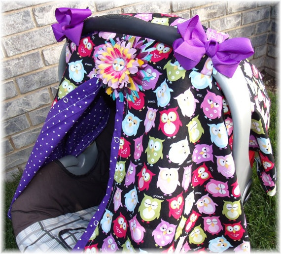 Carseat Canopy With Flower Clip And Bows Whoot Owl 3599 Via Etsy