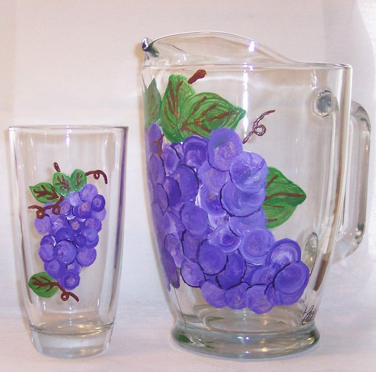 Grapes pitcher six glasses acrylic paint on glass my for Can i paint glass with acrylic paint