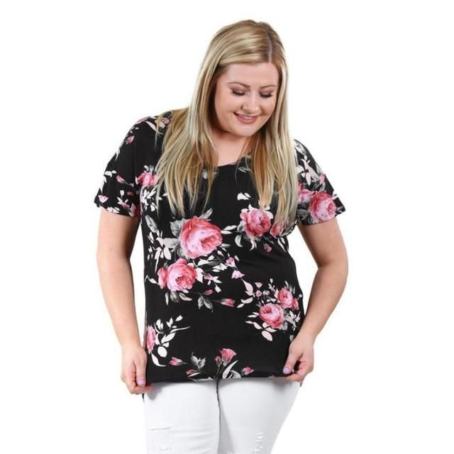 Style201 Women's Floral Printed V-Neck Half Sleeve Loose Tops 0903-12
