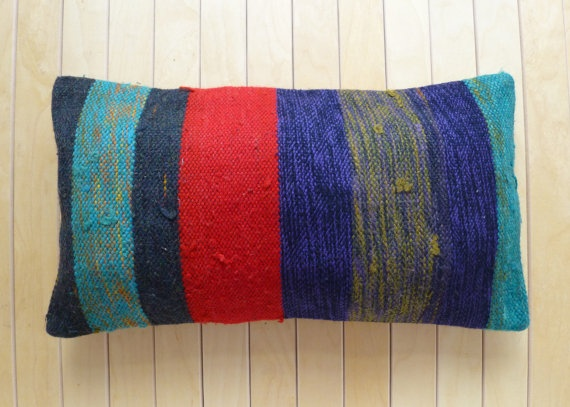 Decorative Throw Pillow Wool Red Blue by PillowTalkOnEtsy on Etsy, $32.00