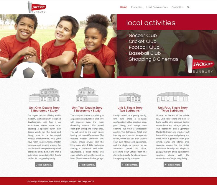 icu2 designed the logo and website for a local development on Jackson Street. The website features all the plans to the homes, with valuable information on local attractions and amenities.