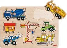 Puzzle s úchytkami Stavebné vozidlá