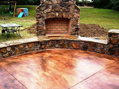 Acid wash concrete patio