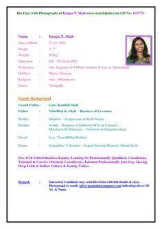 simple biodata format for job fresher - Google Search