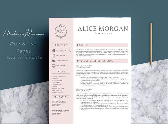 2 Pages Word Resume Template by Quality Resume on @creativemarket