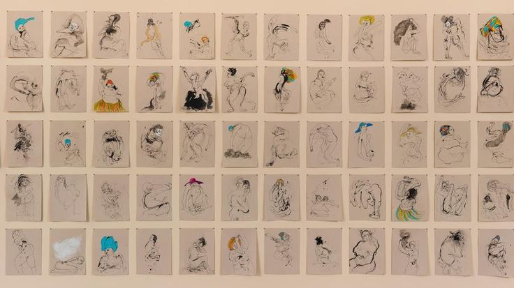 """Kenyatta A.C. Hinkle new exhibit """"100 Missing Women"""" features 100 drawings inspired by 100 missing African American women. It is currently on display at the California African American Museum."""