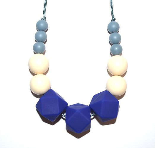 Silicone teething necklace for Mum.  Looks stylish Baby proof Soothes sore gums Meets European EN71 standards Made of 100% Food Grade Silicone Chemical free Easy to clean - simply wash with soap and water!