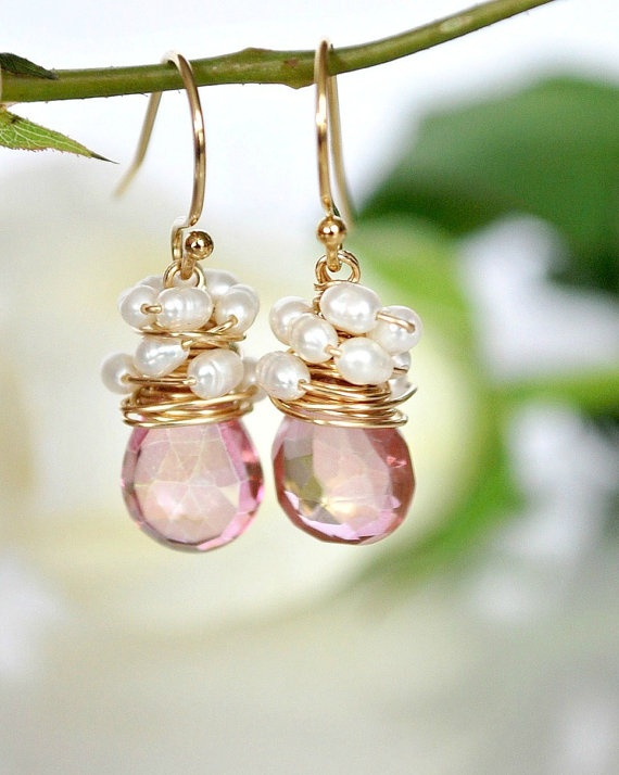 Mystique Pink Quartz silk White Freshwater Pearls by ChaninBijoux, $62.00
