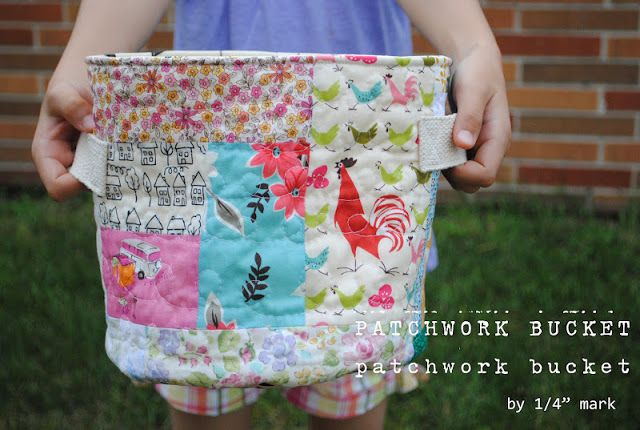 "Round-bottom fabric bucket  -  with formula for finding custom circumference!  1/4"" mark: Tutorial: Patchwork Bucket"
