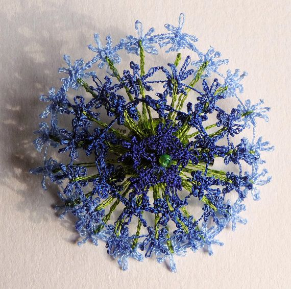 Shaded blue flower brooch - textile art, lacy machine embroidery on dissolvable fabric