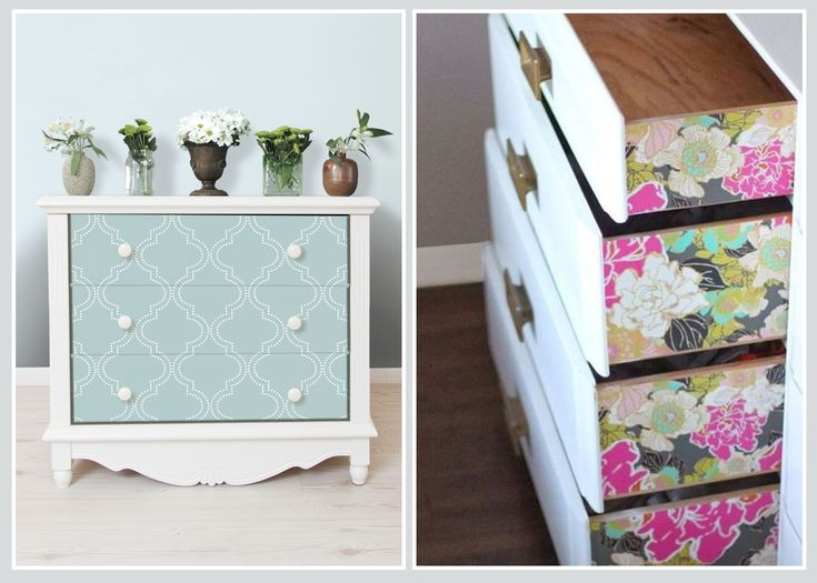 DRAWERS - Create these bespoke drawers choosing wallpaper that compliments your interior scheme, or try applying bright wallpaper to the sides of a plain white drawer for an unexpected surprise!