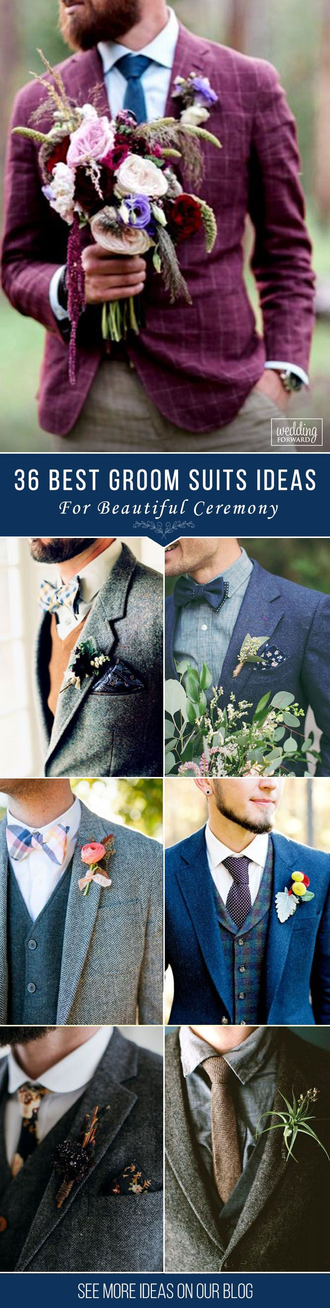 36 The Most Popular Groom Suits ❤ And the choice of groom suits becomes one of the most important events.The perfect suit well fits a groom and suits him, reflects his personality. See more: http://www.weddingforward.com/groom-suits/ ‎#groom #groomsmen