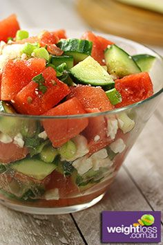 Watermelon Cucumber Summer Salad Recipe. #SaladRecipes #DietRecipes #WeightLossRecipes weightloss.com.au