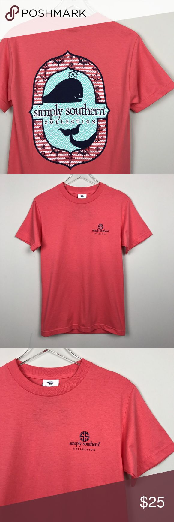 """[Simply Southern] Preppy Ocean Whale Graphic Tee Classic Simply Southern Collection Preppy t-shirt. Coral with whale ocean themed graphic.   Pit to Pit: 17"""" Length: 27"""" Condition: NWT. New and never worn.  *D2 Simply Southern Tops Tees - Short Sleeve"""