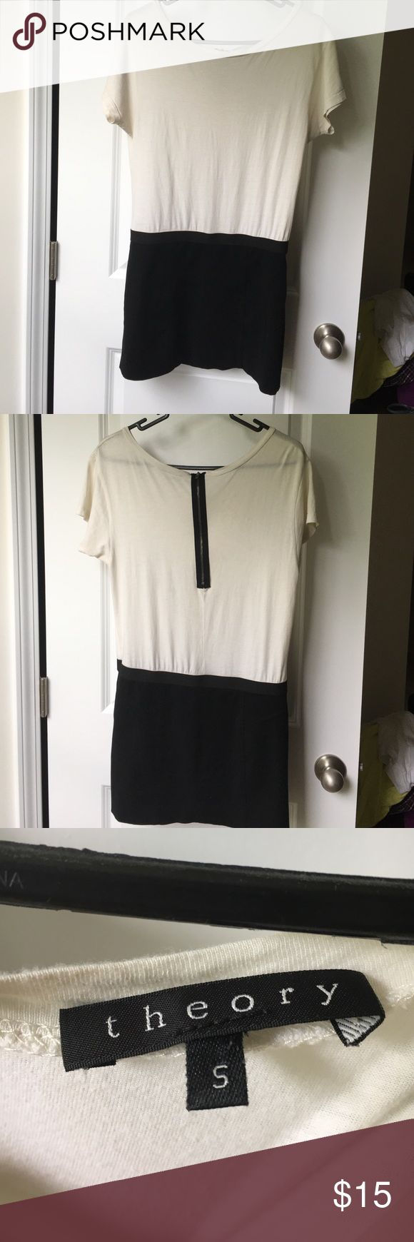 Theory cream and black color block mini dress Cute short dress, loose white top combo with a tight black skirt bottom Theory Dresses Mini