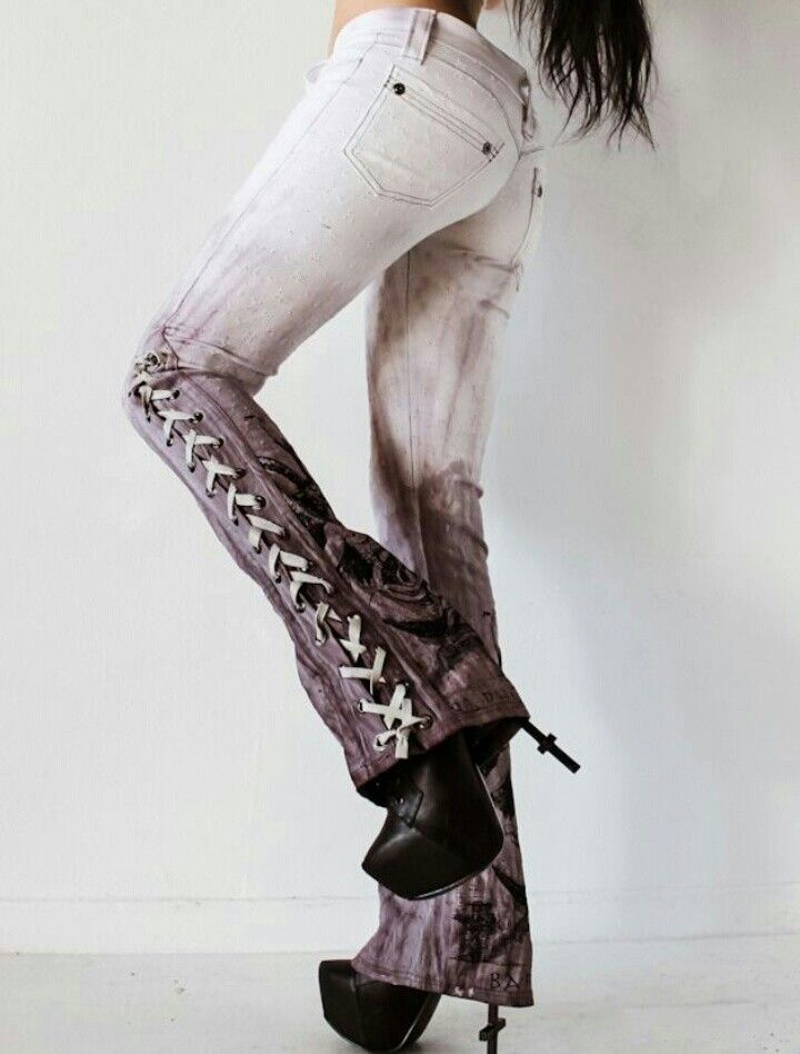 Lace up jeans... I'm not a fan of the white, but these are cute!