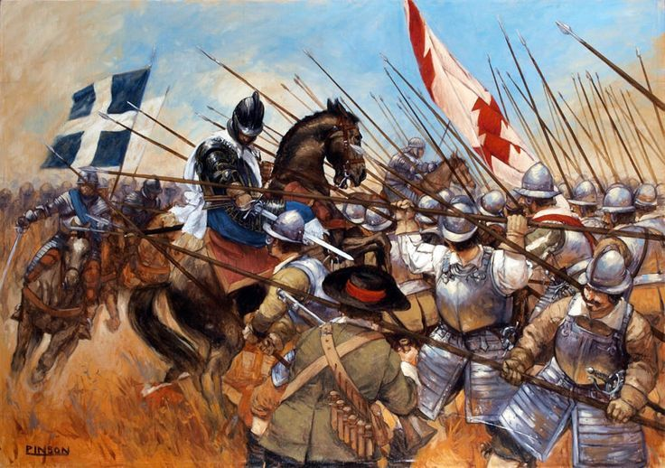 French cavalry charge a Spanish tercio ·