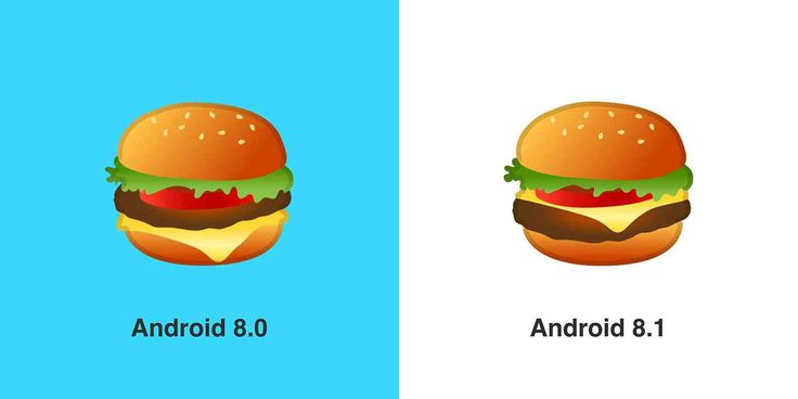 Google updates burger beer and cheese emojis in Android 8.1