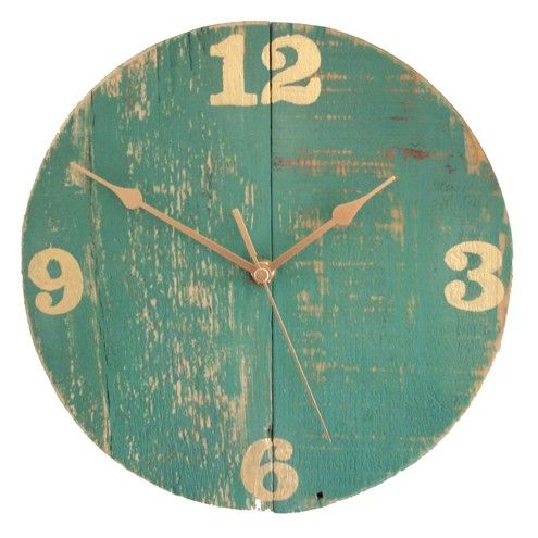 rustic turquoise wall clock from reclaimed wood