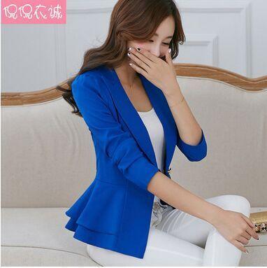 2017 Fashion Hot  New women blazers and jackets long-sleeve slim blazer ruffle short blazer design candy color Outerwear & Coats