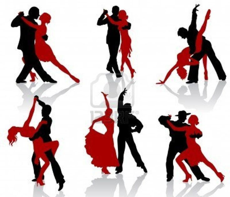 Silhouettes of the pairs dancing ballroom dances. Tango. Stock Photo