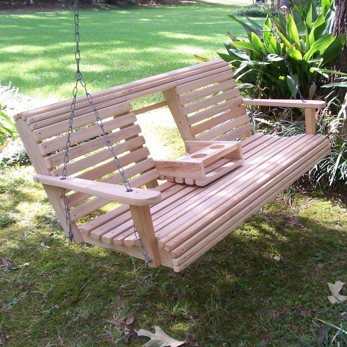 Build A Wood Porch Swing With Cup Holders Diy Porch