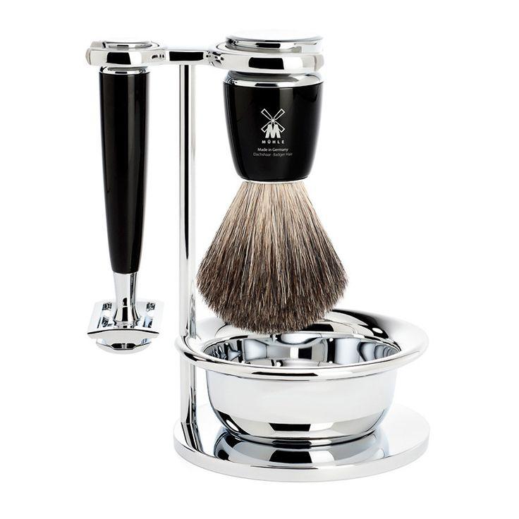 Muhle Rytmo 4-Piece Shaving Set with Safety Razor and Pure Badger Brush, Black