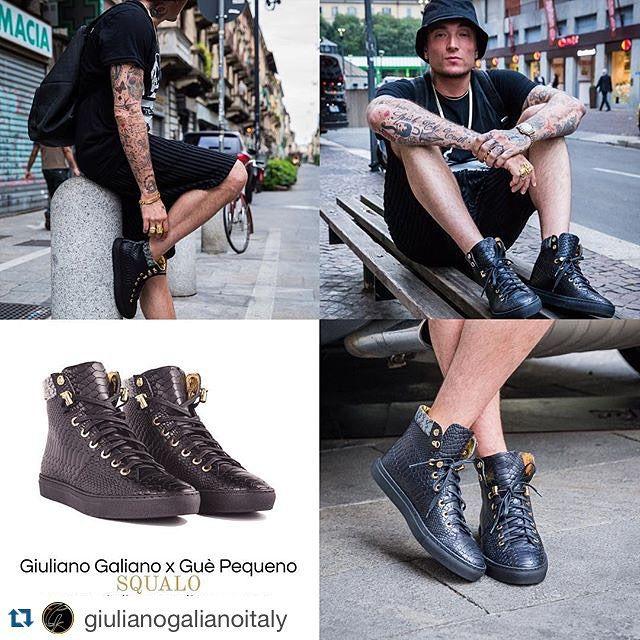 """#GuèPequeno Guè Pequeno: #Repost @giulianogalianoitaly ・・・ Sneaker """"SQUALO"""" Giuliano Galiano X @therealgue disponibili su: www.giulianogaliano.com #GuePequeno #Squalo #Sneakers"""