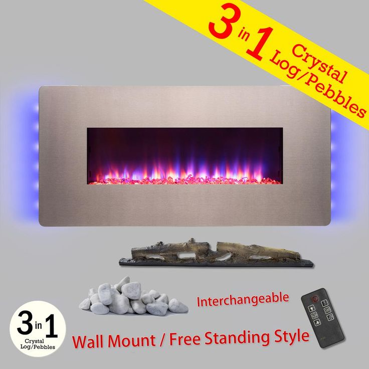 36 in. Wall Mount Freestanding Convertible Electric Fireplace Heater in Bonze w/ Pebbles, Logs, Crystal, Remote Control, Bronze
