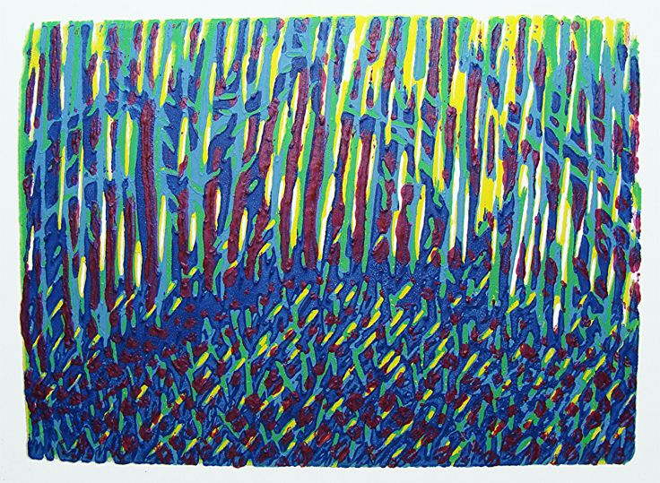 Bluebell Forest Autumn by ANGELA MAHER water based inks ~ 4 x 5.5