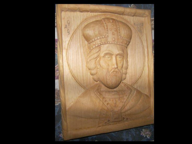 ΞΥΛΟΓΛΥΠΤΙΚΗ WOOD CARVING резьба по дереву Λυδιανός:   Άγιος Κωνσταντίνος. Από ξύλο Φλαμουριάς.