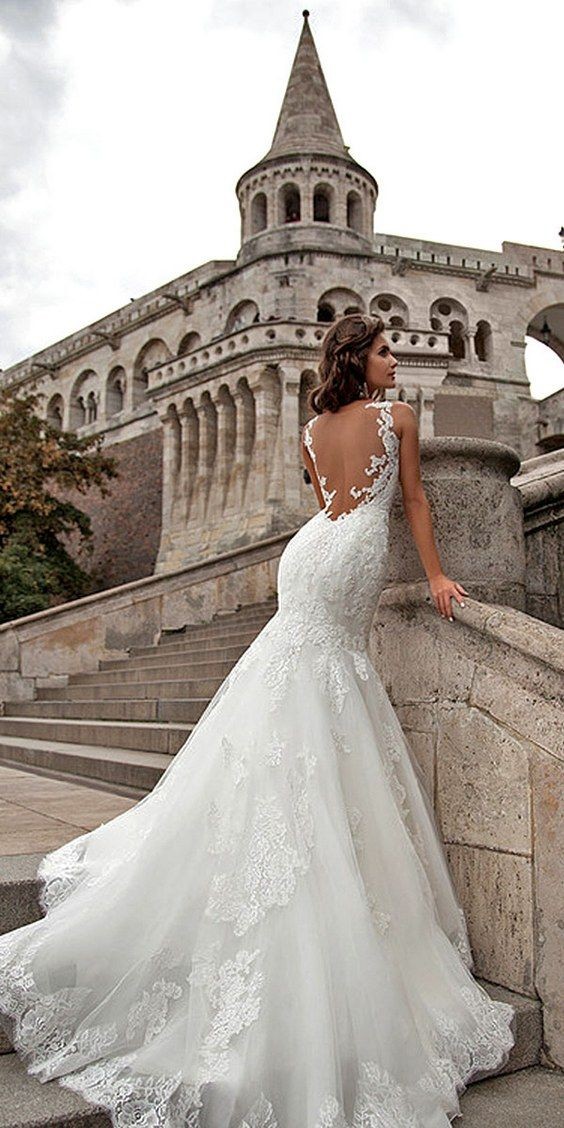 Open back lace mermaid wedding